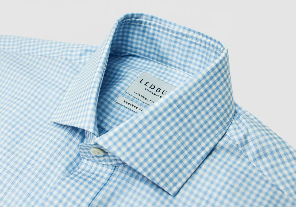 The Light Blue Errol Heather Check Dress Shirt Dress Shirt- Ledbury