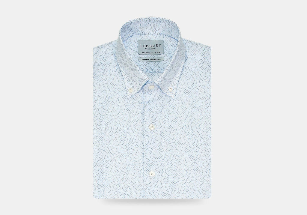 The White Short Sleeve Buchard Print Casual Shirt Short Sleeve- Ledbury