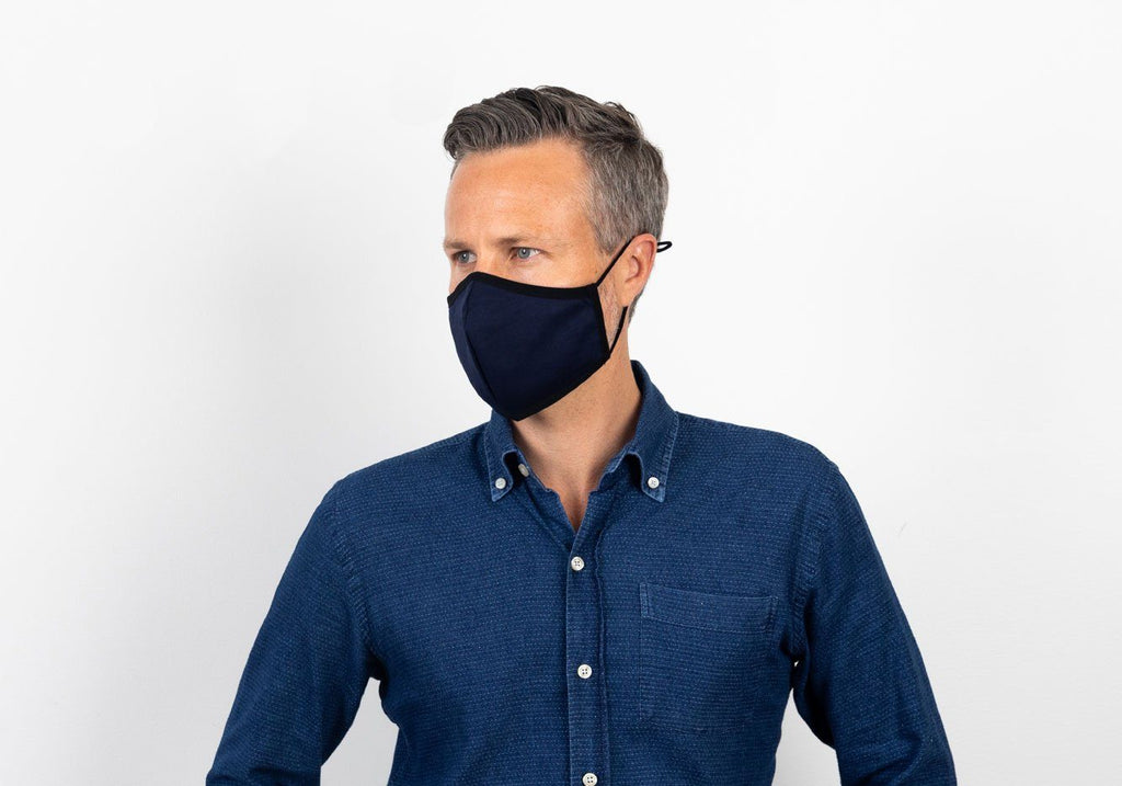 The Ross Silver Ion Jersey Antibacterial Navy & Royal Blue Mask 2-Pack Mask- Ledbury
