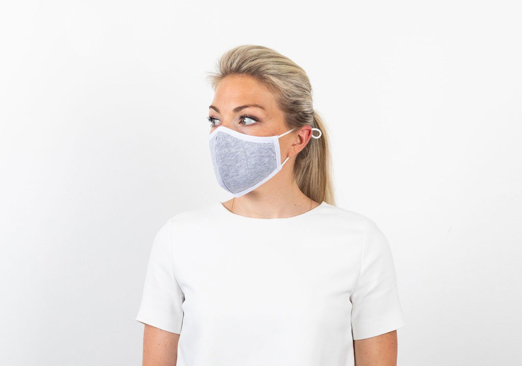 The Ross Silver Ion Jersey Antibacterial Grey & Blue Mask 2-Pack Mask- Ledbury