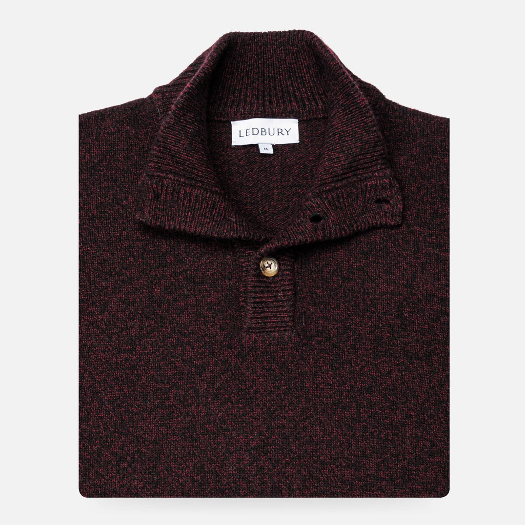 The Dark Burgundy Brewer Mock Neck Sweater Sweater- Ledbury