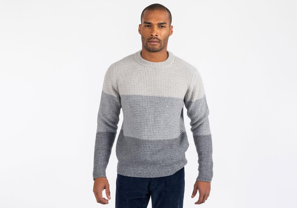 The Grey Heather Britton Color Block Crew Neck Sweater Sweater- Ledbury