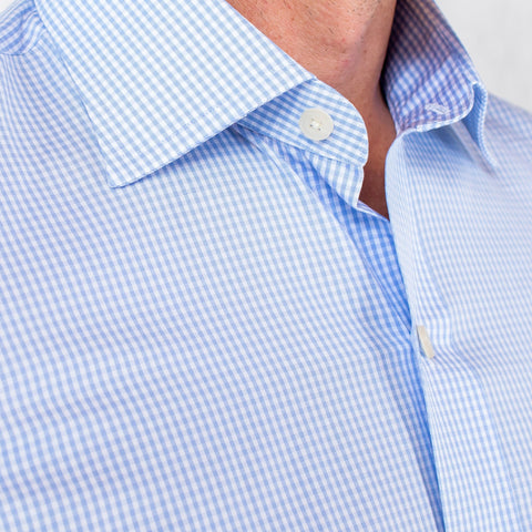 Light Blue Gingham Poplin Dress Shirt