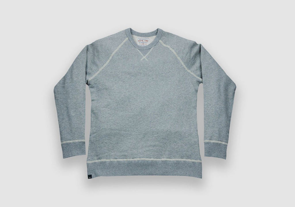 Pistol Lake Heather Grey French Terry Crew Neck Sweatshirt Knit- Ledbury