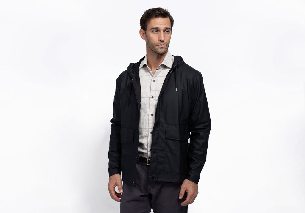 Rains Black Short Hooded Coat Outerwear- Ledbury