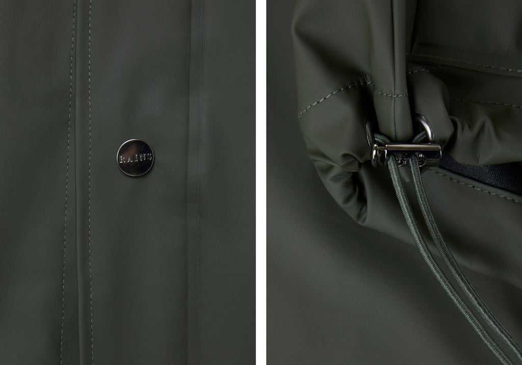 Rains Green Short Hooded Coat Outerwear- Ledbury