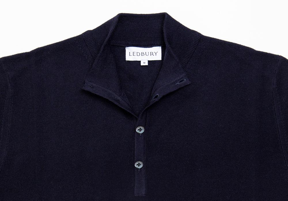The Navy Reymond Mock Henley Sweater- Ledbury