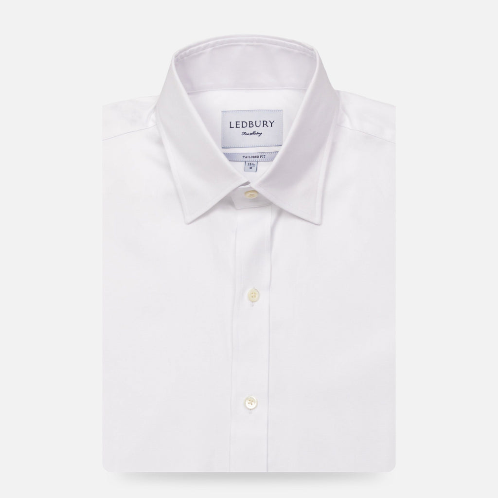 The White Draper Hidden-Button Dress Shirt Dress Shirt- Ledbury