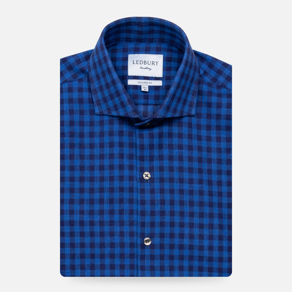 The Dark Blue Martell Cotton Linen Gingham Casual Shirt Casual Shirt- Ledbury