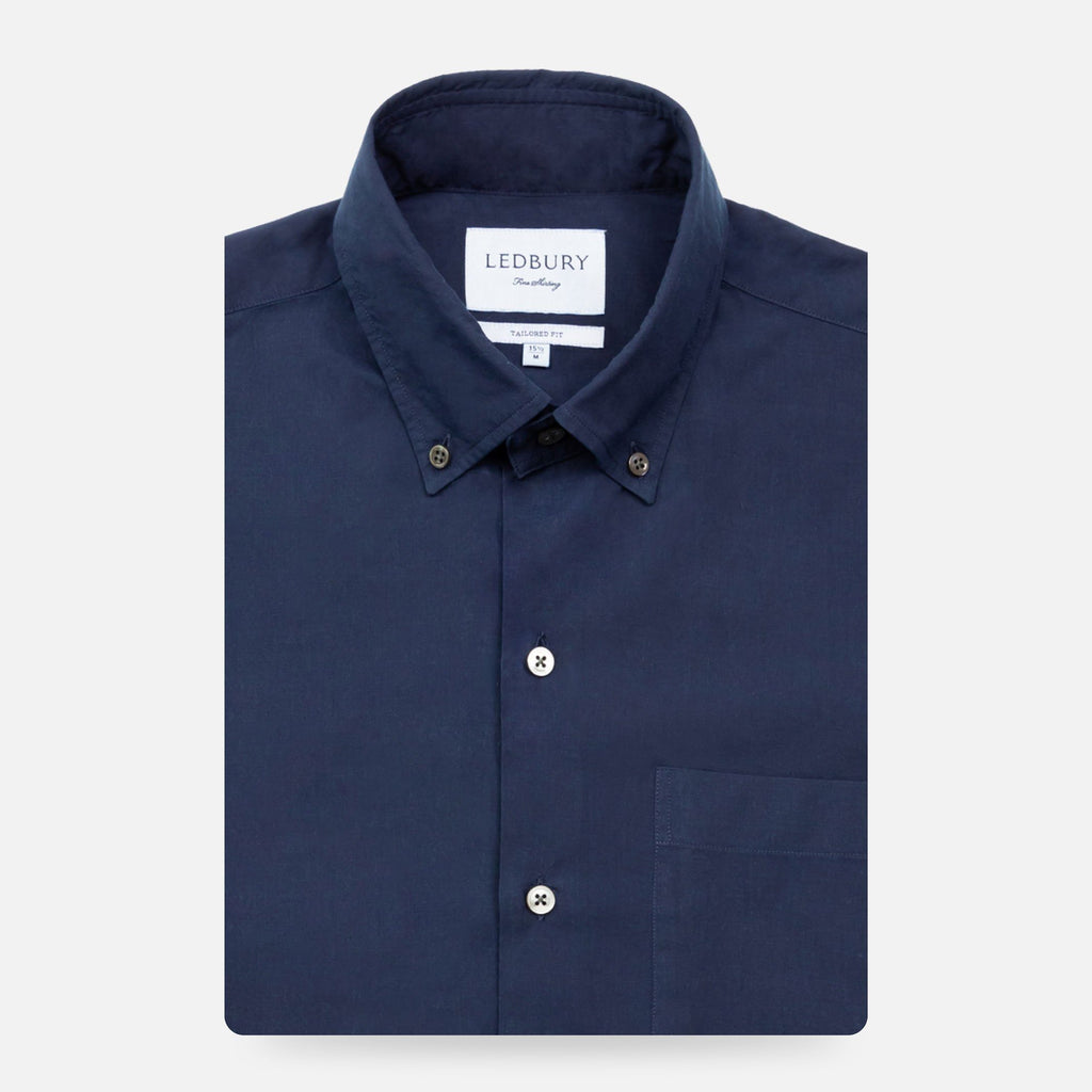 The Dark Blue Short Sleeve Snyder Fine Denim Casual Shirt Casual Shirt- Ledbury