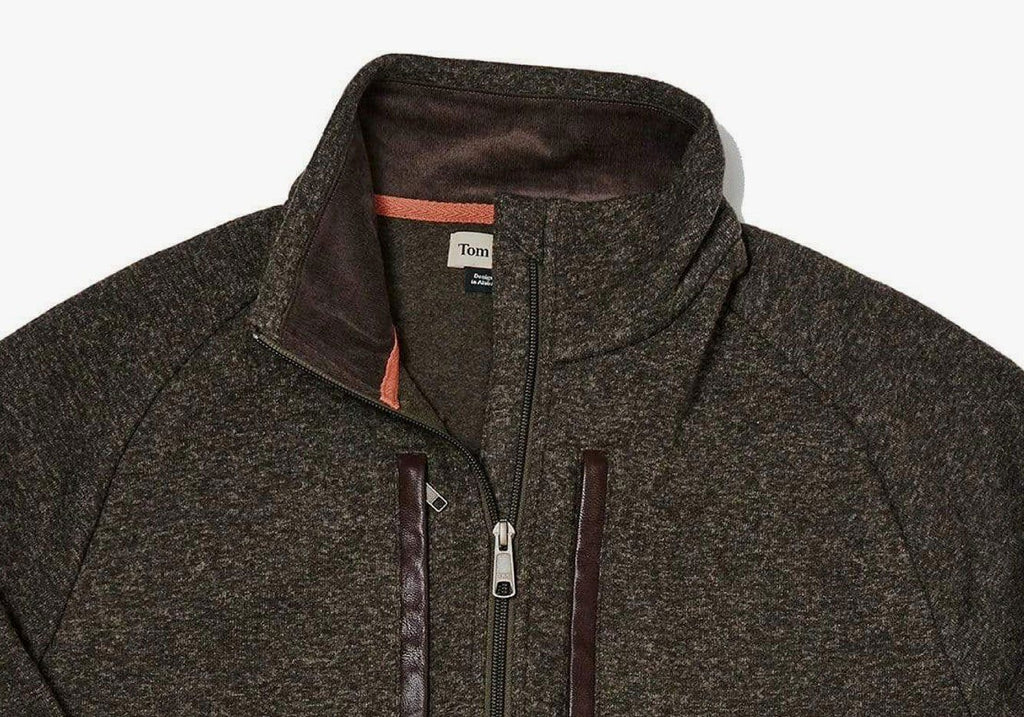 Tom Beckbe Black Olive Knit Fleece Quarter Zip Outerwear- Ledbury