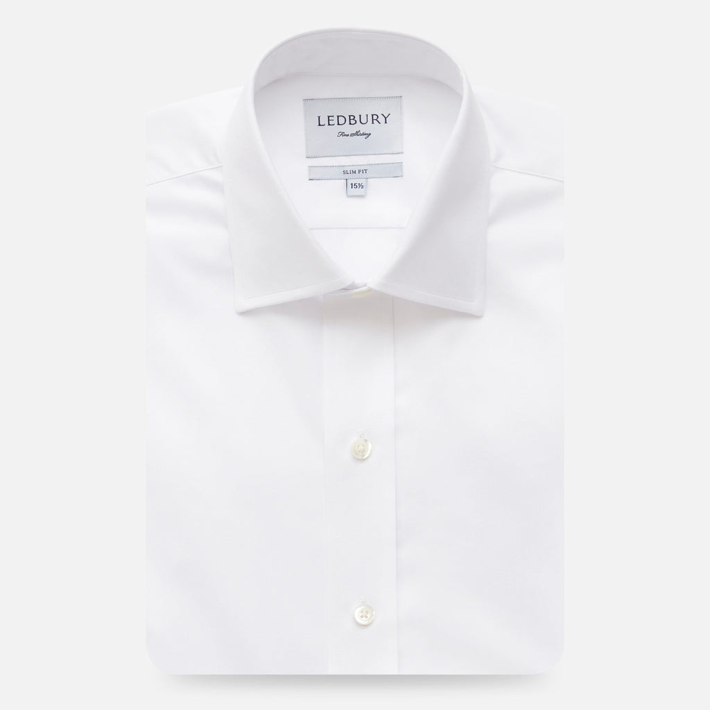 The White Fine Twill Mid-Spread Dress Shirt Dress Shirt- Ledbury