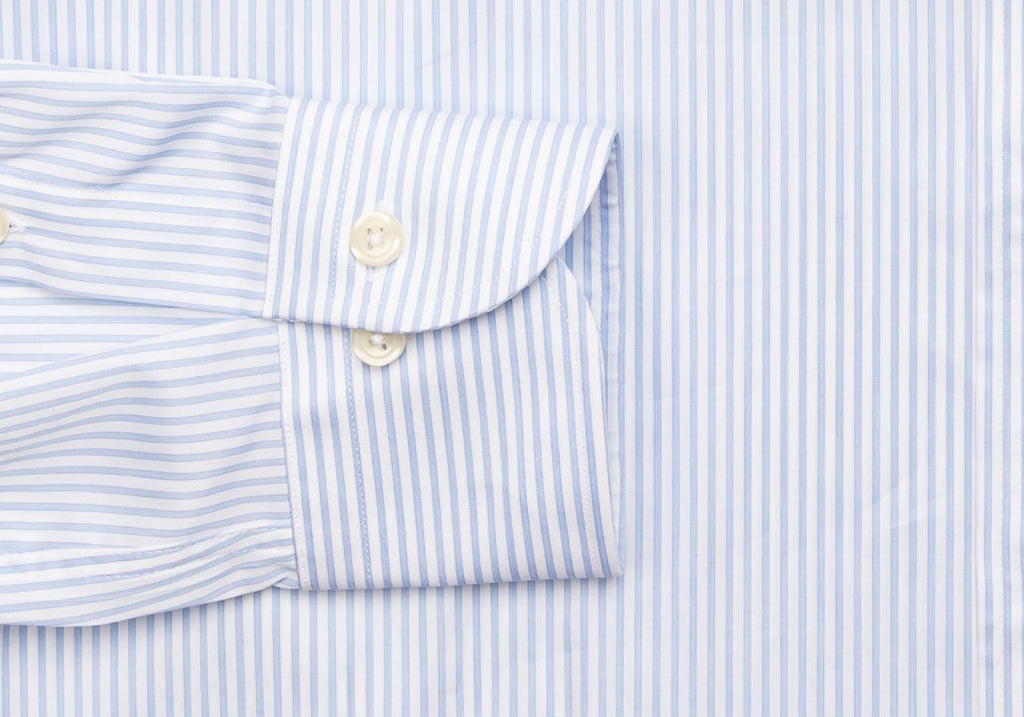 The Light Blue Anderson Fine Twill Stripe Dress Shirt Dress Shirt- Ledbury