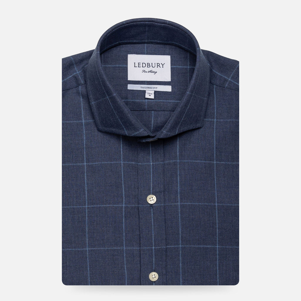 The Dark Blue Arjun Windowpane Dress Shirt Dress Shirt- Ledbury