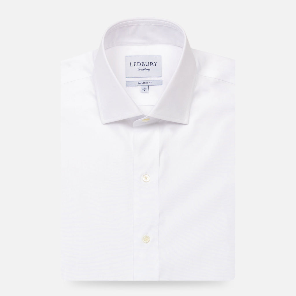 The White Astor Poplin Dress Shirt Dress Shirt- Ledbury