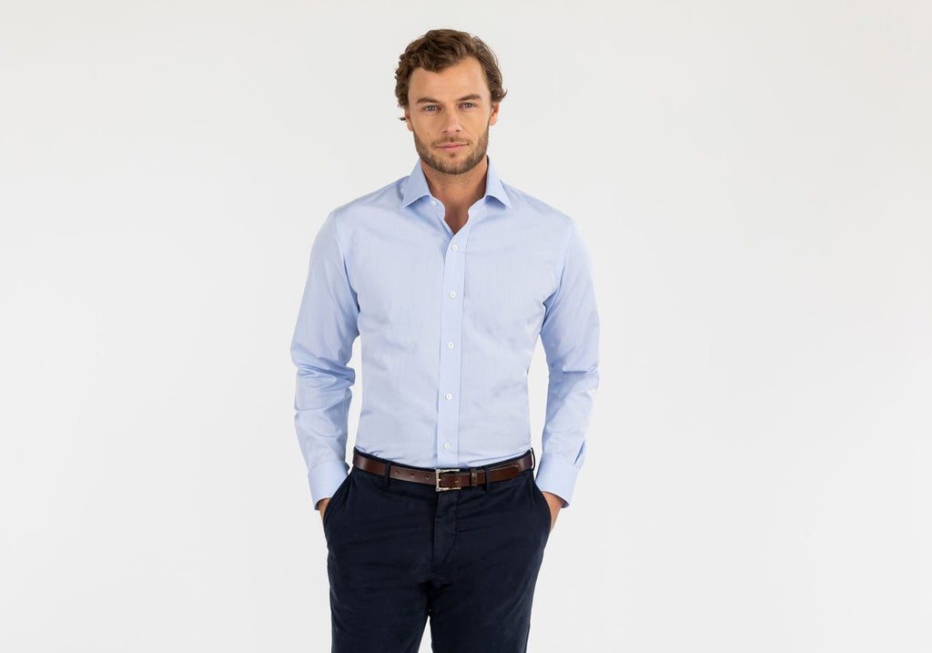The Blue Astor Poplin Dress Shirt Dress Shirt- Ledbury