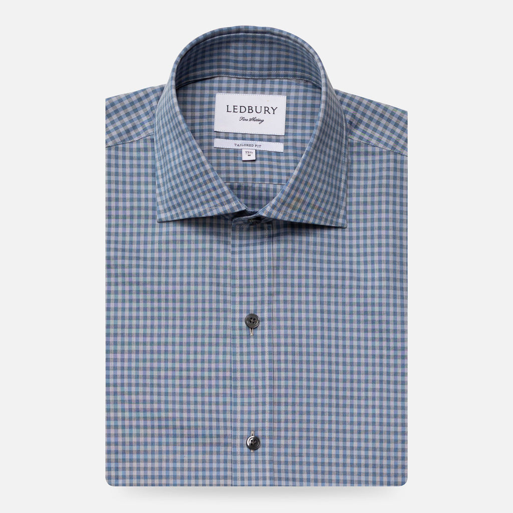 The Cadet Blue Barfield Gingham Dress Shirt Dress Shirt- Ledbury
