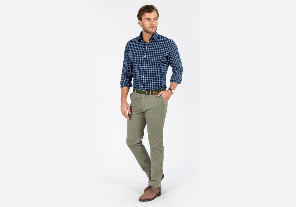The Navy Bordley Check Casual Shirt Casual Shirt- Ledbury