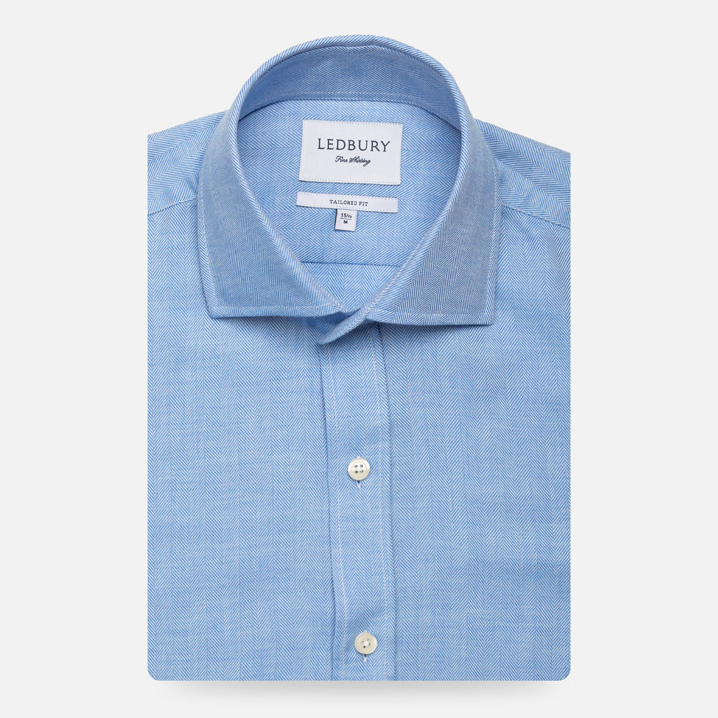 The Blue Caldwell Cashmere Herringbone Dress Shirt Dress Shirt- Ledbury