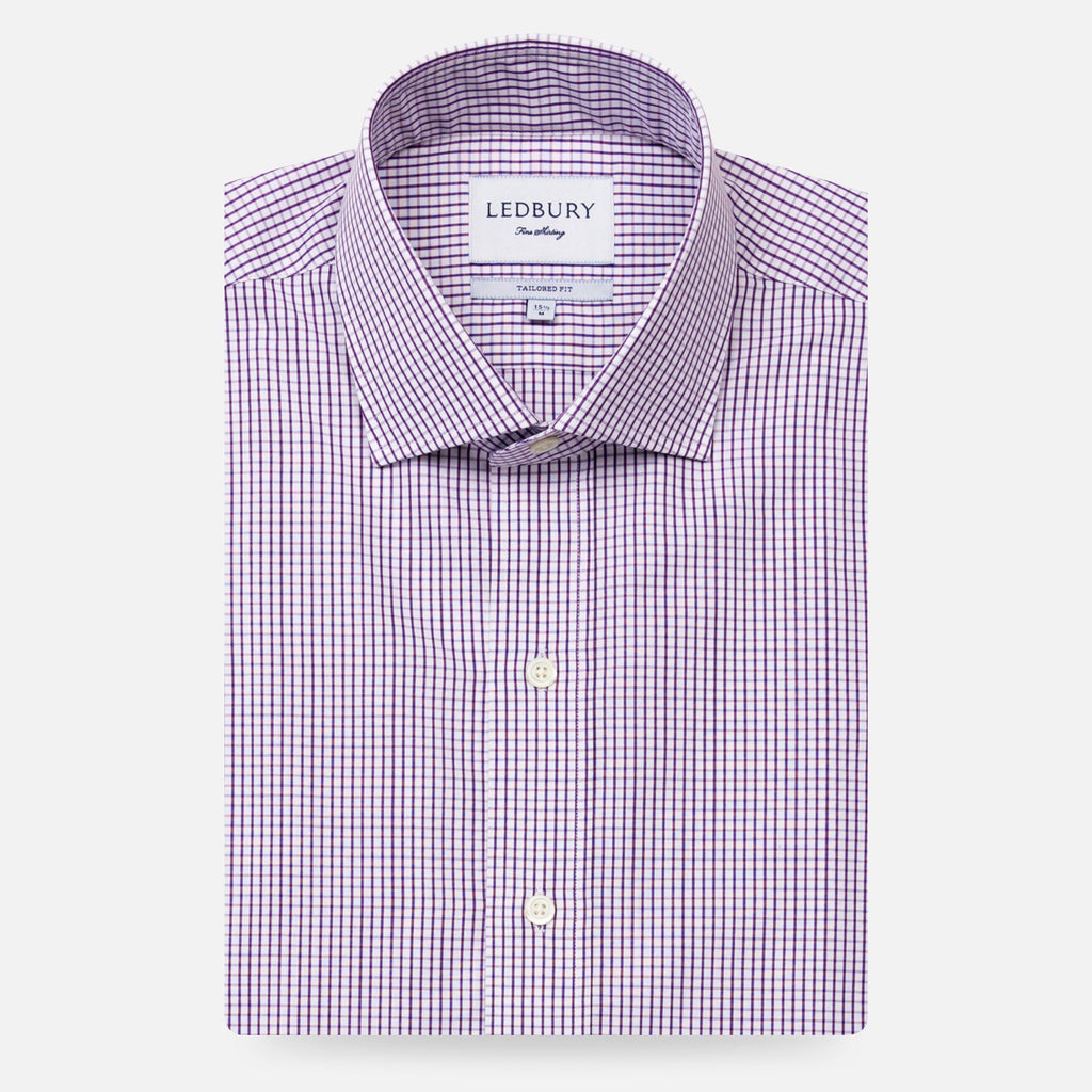 The Purple Coleridge Box Check Dress Shirt Dress Shirt- Ledbury