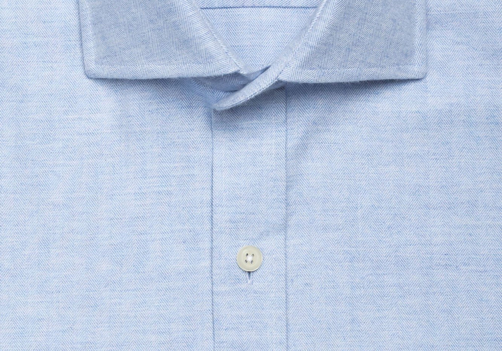 The Light Blue Crockett Brushed Herringbone Casual Shirt Casual Shirt- Ledbury
