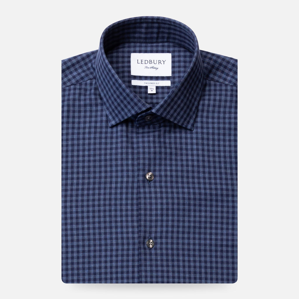 The Dark Blue Heather Crosswell Brushed Gingham Casual Shirt Casual Shirt- Ledbury