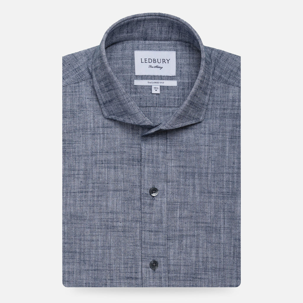 The Dark Blue Delwood Textured Casual Shirt Casual Shirt- Ledbury