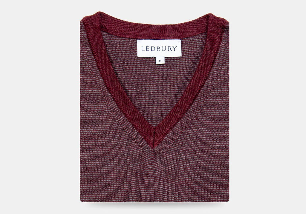 The Burgundy Heather Emmons Stripe V-Neck Sweater Sweater- Ledbury