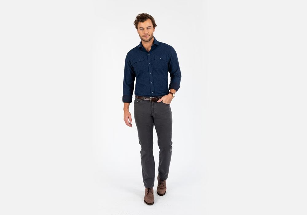 The Dark Blue Heather Heyming Moleskin Casual Shirt Casual Shirt- Ledbury