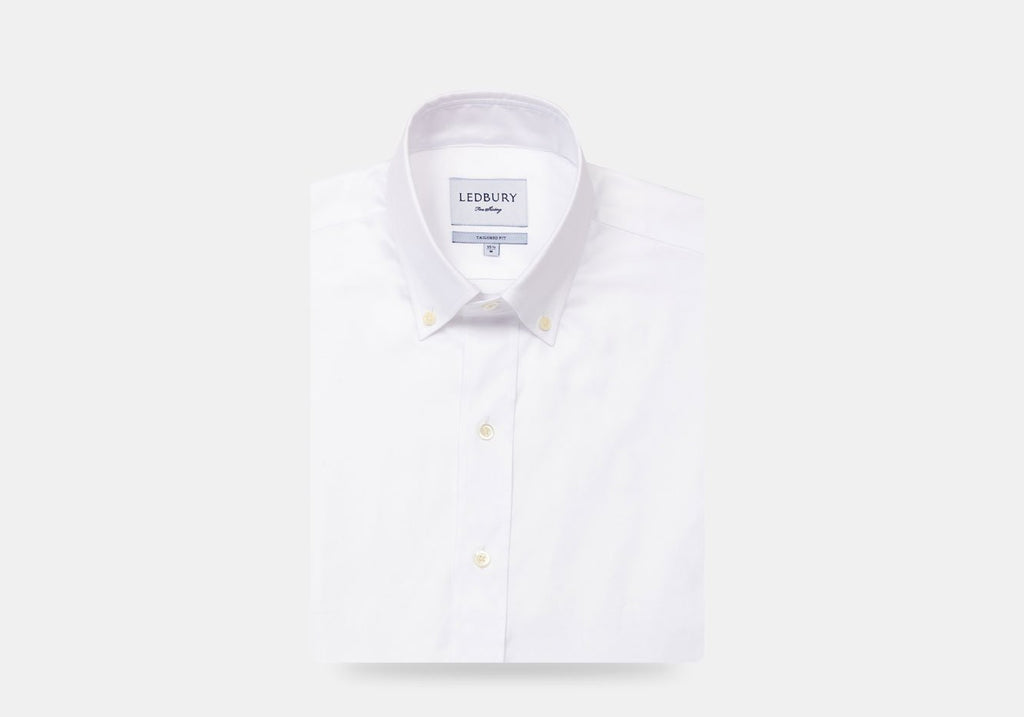 The White Hudson Pinpoint Oxford Dress Shirt Dress Shirt- Ledbury