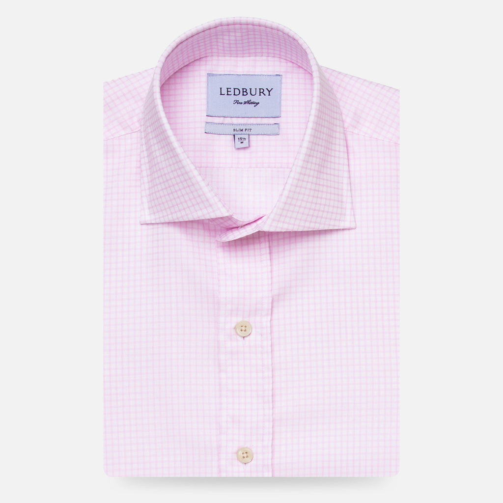 The Pale Pink Kimball Check Dress Shirt Dress Shirt- Ledbury