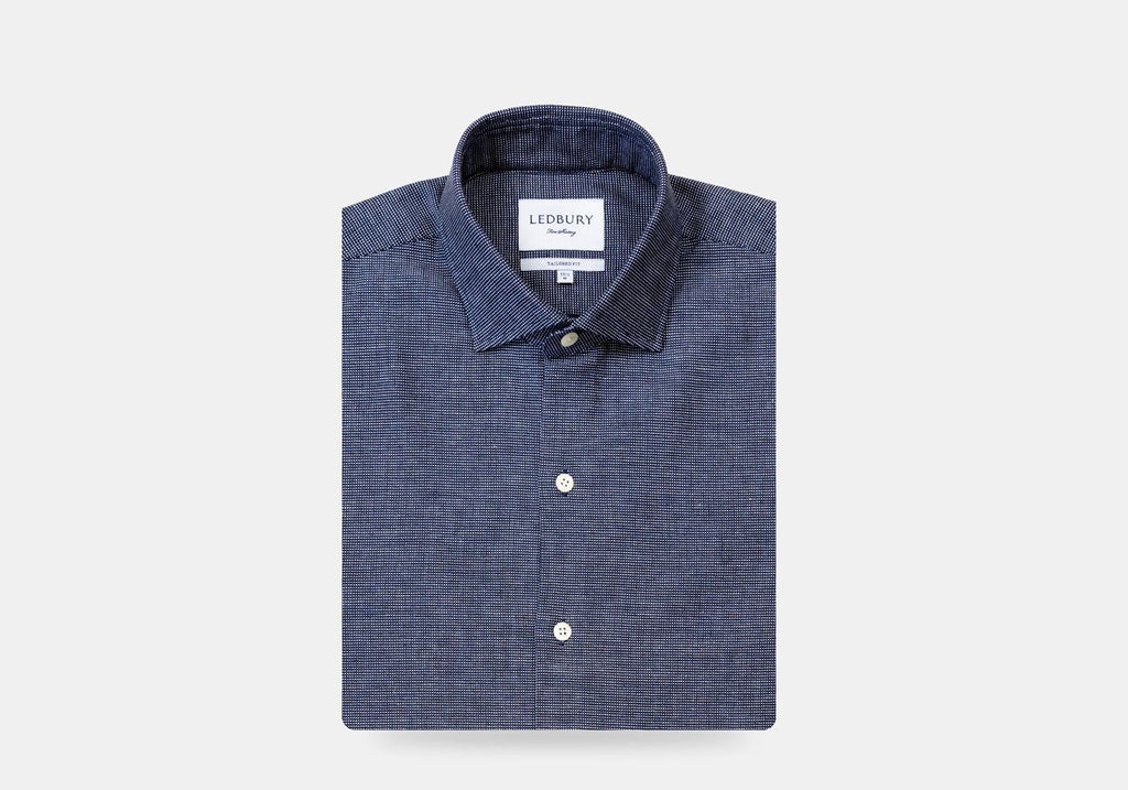 The Navy Kirby Dot Casual Shirt Casual Shirt- Ledbury
