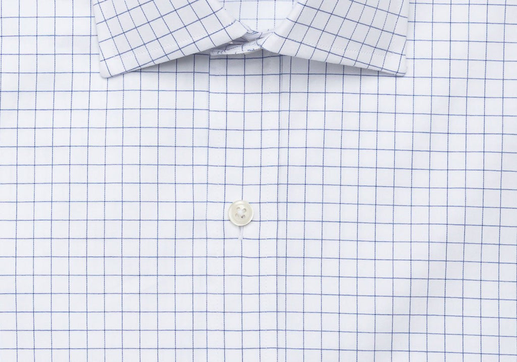 The Navy McFadden Windowpane Dress Shirt Dress Shirt- Ledbury