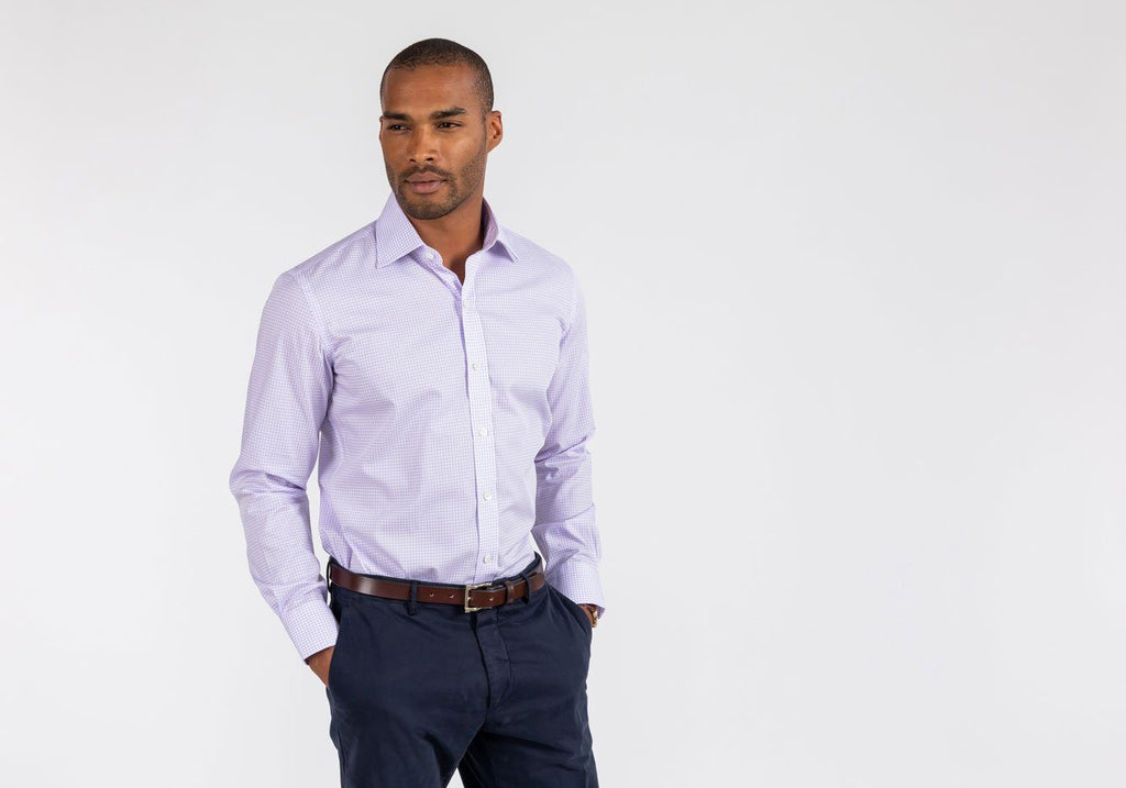 The Lavender Reed Check Dress Shirt Dress Shirt- Ledbury