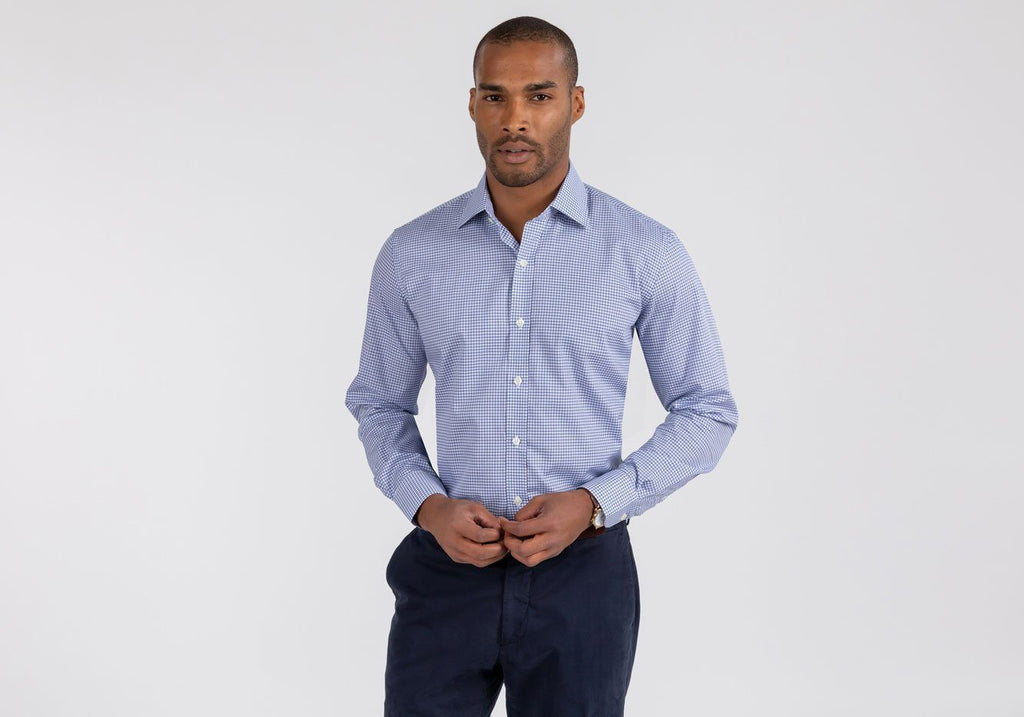 The Navy Reed Check Dress Shirt Dress Shirt- Ledbury