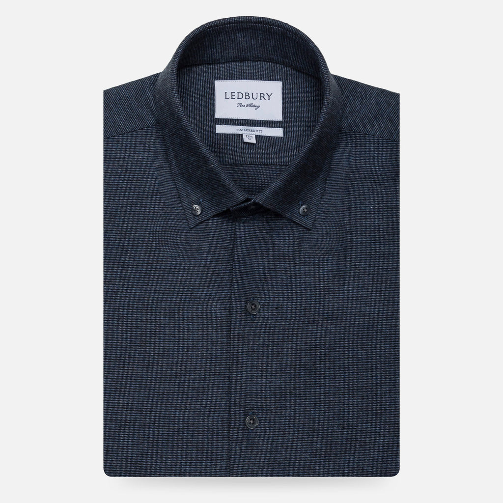 The Dark Blue Heather Ryan Brushed Casual Shirt Casual Shirt- Ledbury