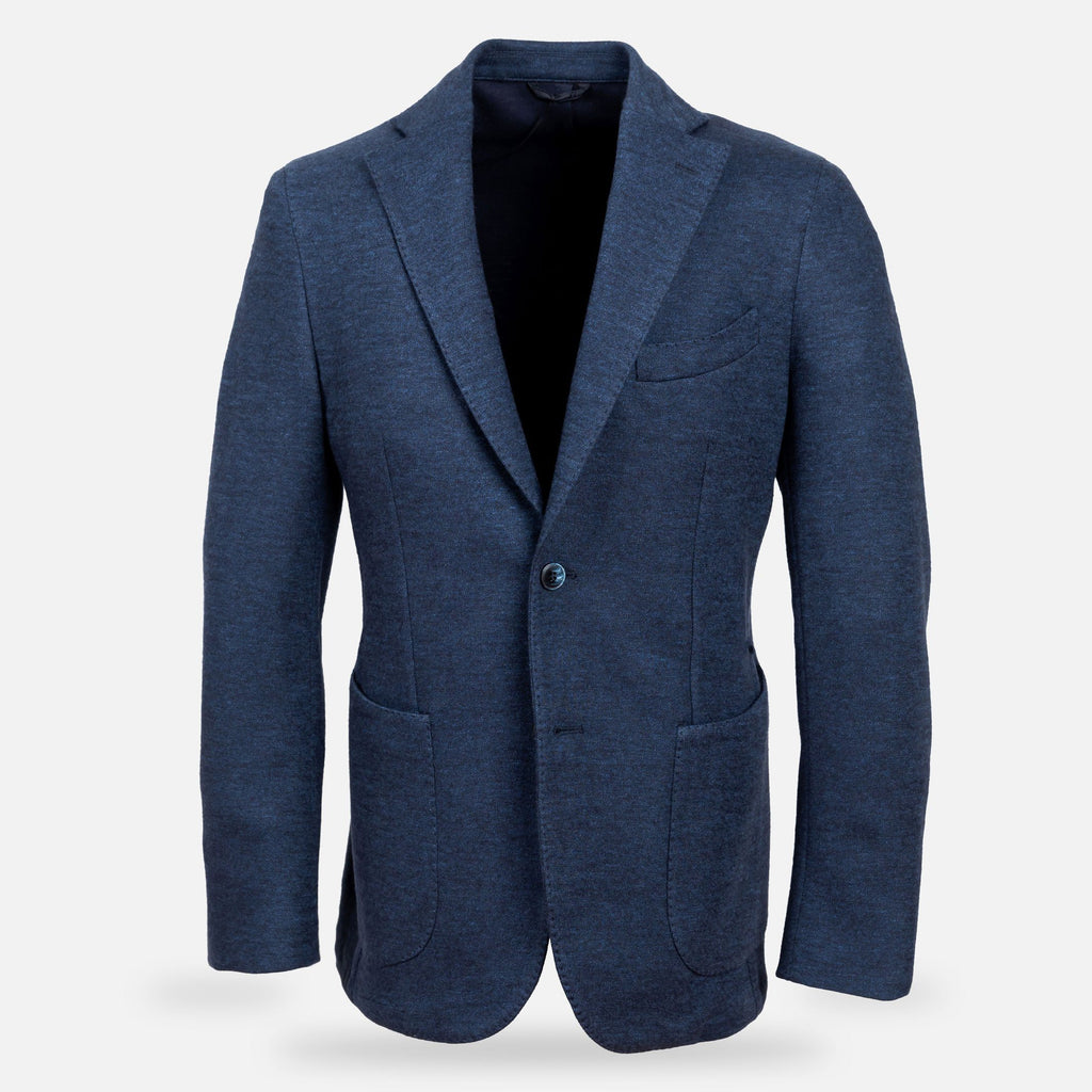 The Navy Ryleston Knit Sport Coat Blazer- Ledbury