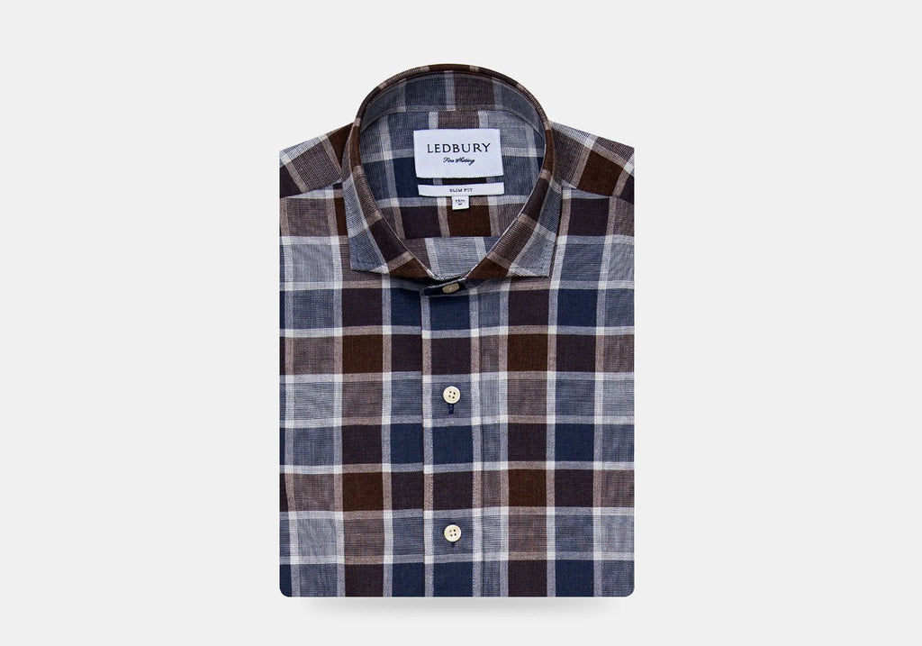 The Cadet Blue Tennyson Plaid Casual Shirt Casual Shirt- Ledbury