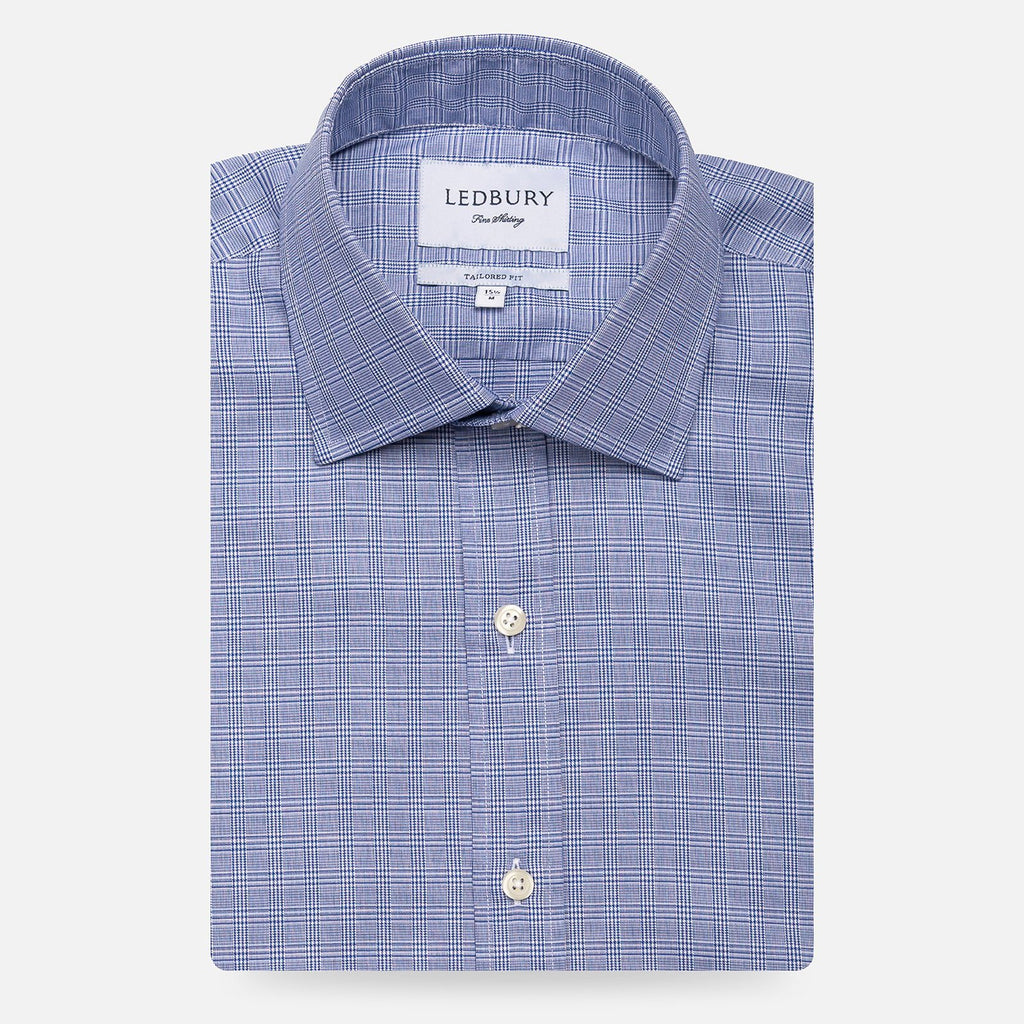 The Navy Babar Check Dress Shirt Dress Shirt- Ledbury