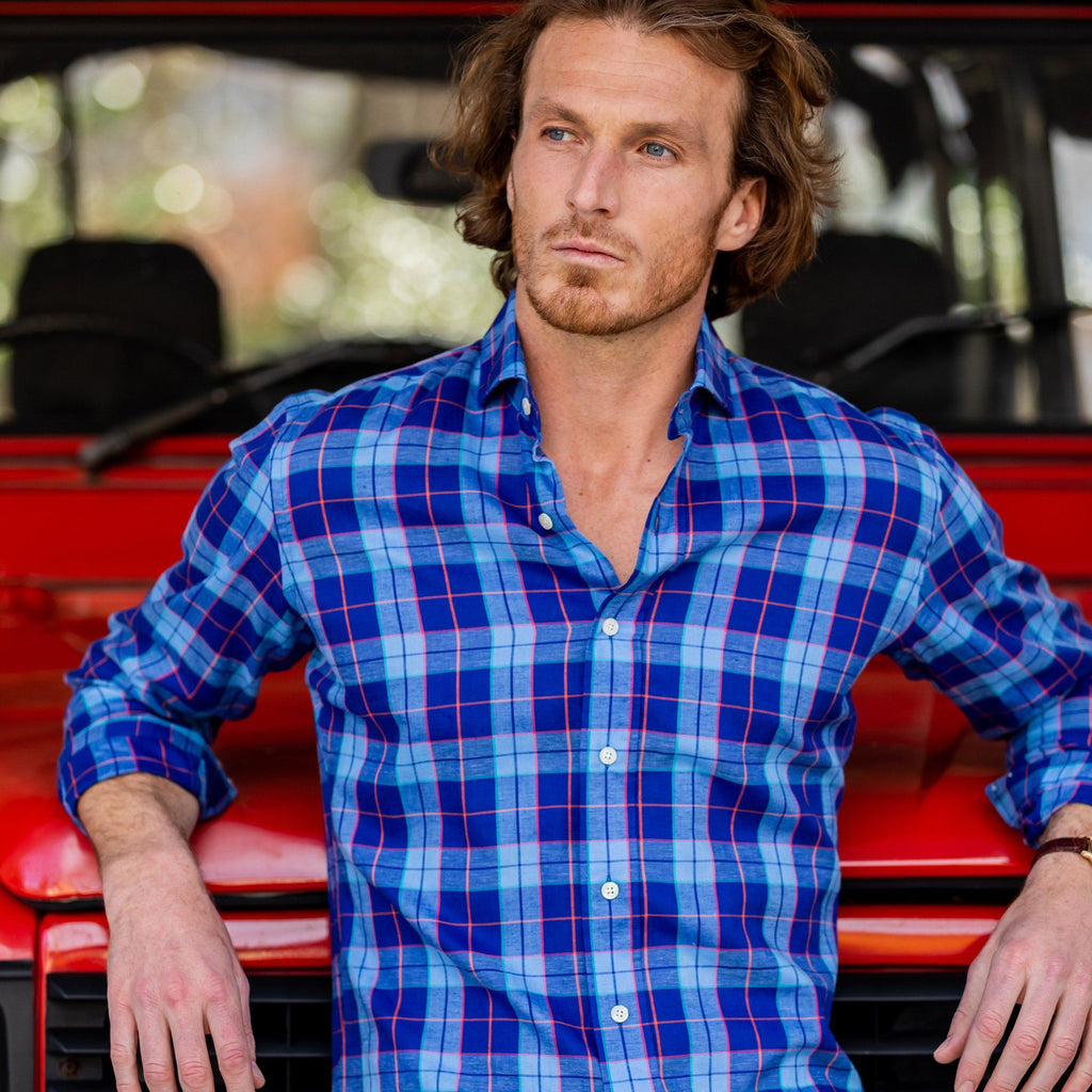The Deep Blue Holland Plaid Dress Shirt