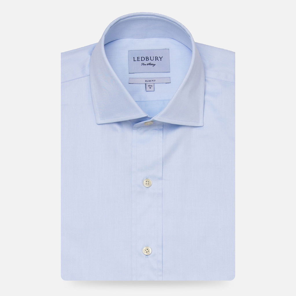 The Blue Fine Twill Spread Dress Shirt Dress Shirt- Ledbury