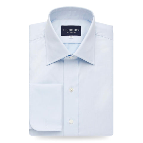 Blue Fine Twill French Cuff Dress Shirt