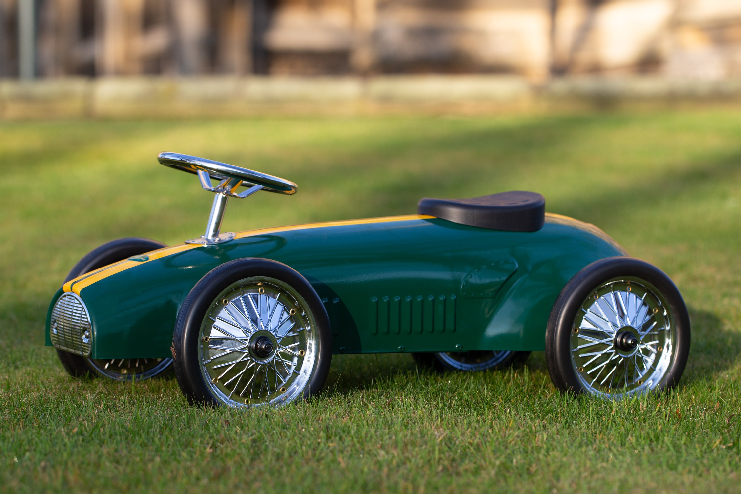 Vintage Steel Ride Along Racer in British Racing Green