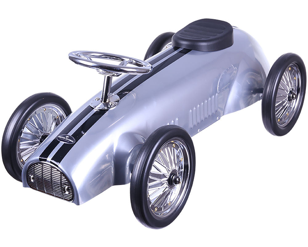 Vintage Steel Ride Along Racer in Silver