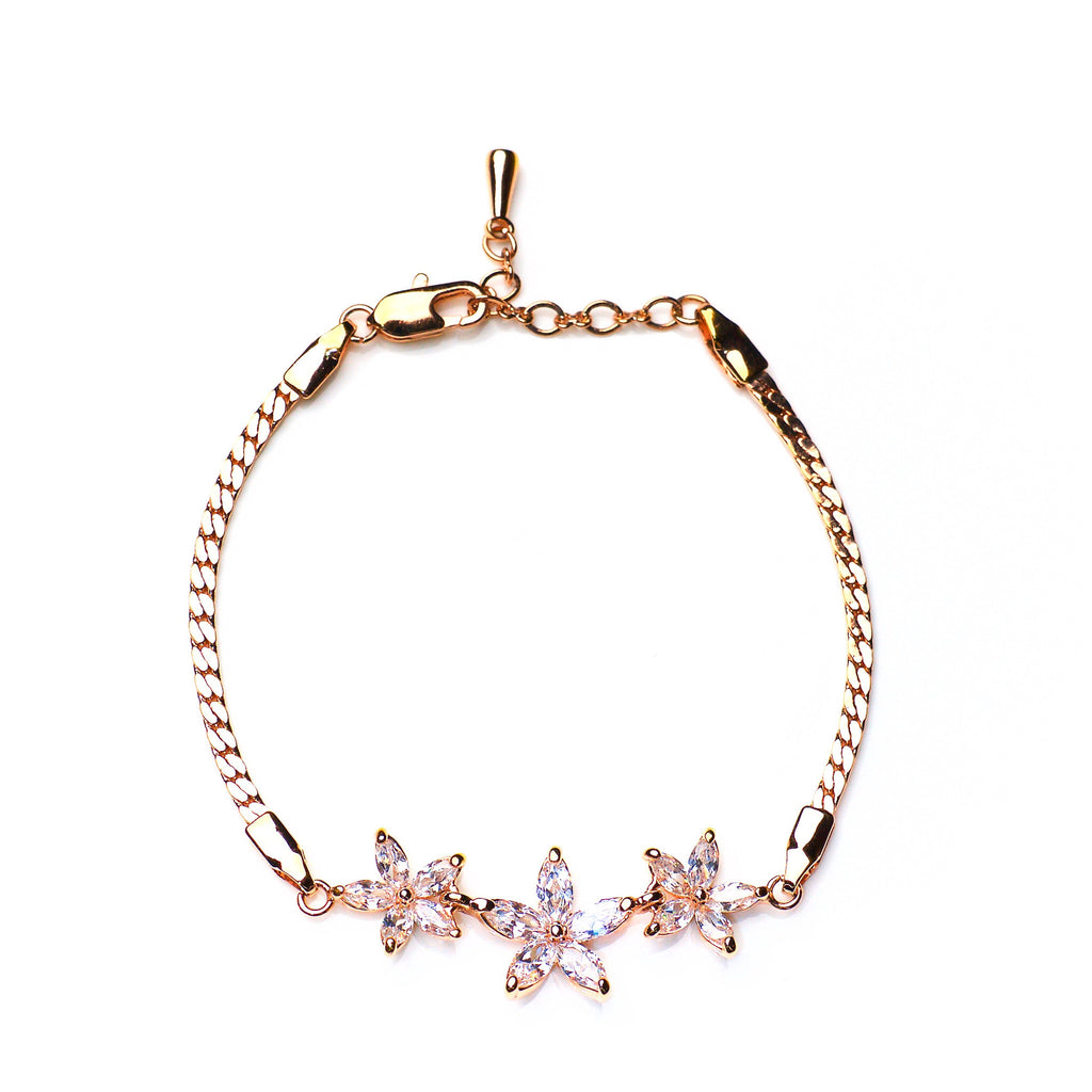 Nu mă uita - 18k rose gold plated bracelet with zirconium crystals 1