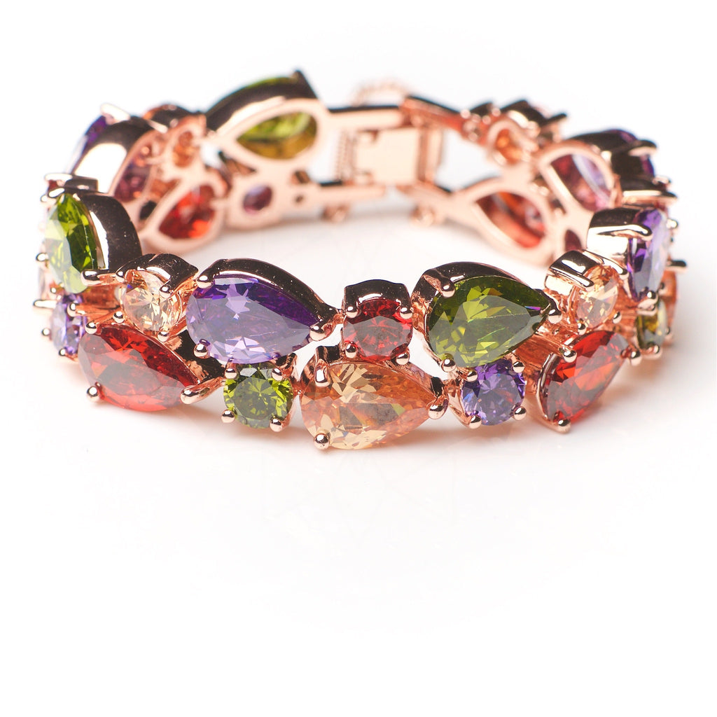 Solaris - 18k rose gold plated bracelet with colorful crystals 2
