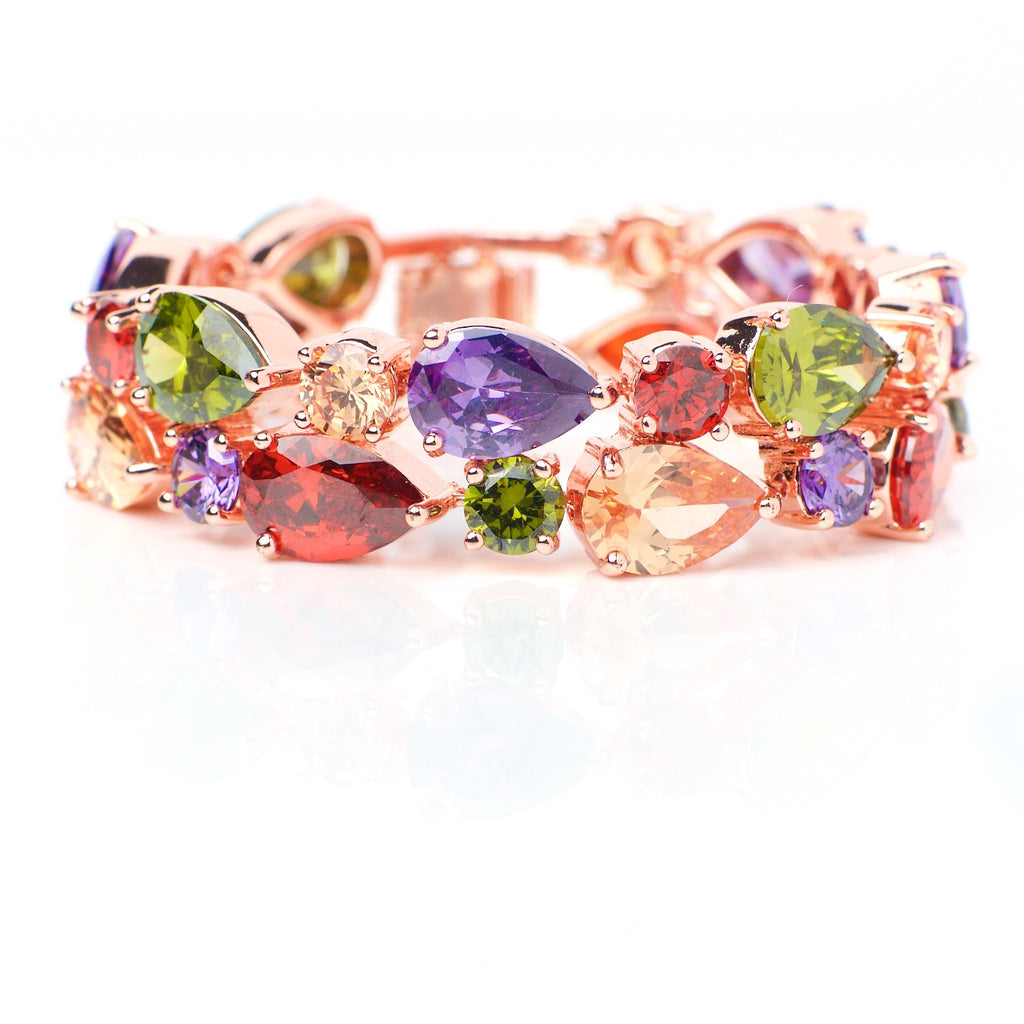 Solaris - 18k rose gold plated bracelet with colorful crystals 1