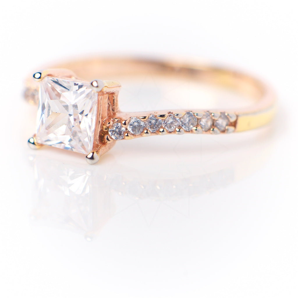 Air - 18k rose gold plated ring with zirconium crystals 2