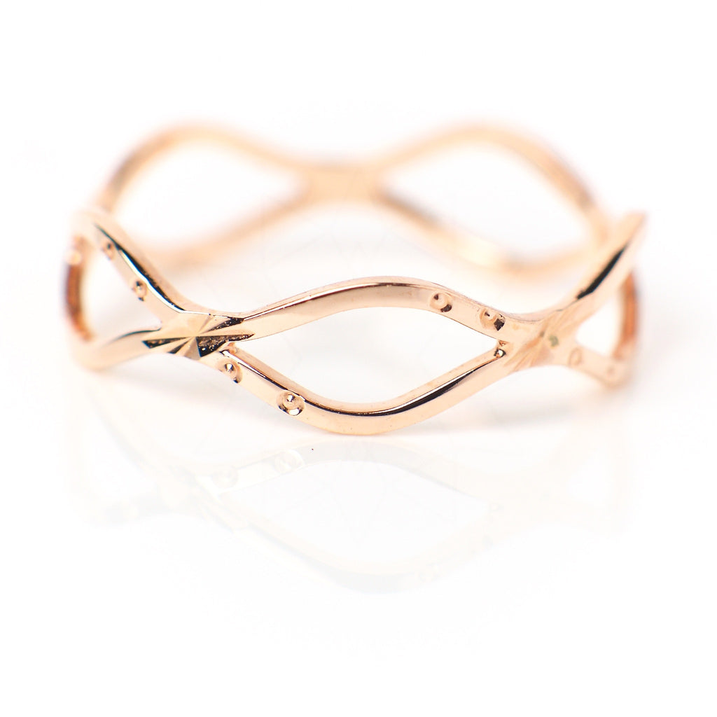Waves - 18k rose gold plated ring 3