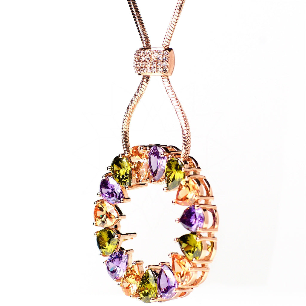 Solaris - 18k rose gold plated necklace with multicolour crystals 2